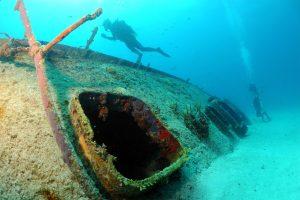 Sunken Boat with Diver